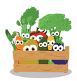 Funny Veggies in a Wooden Box vector image