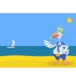 Goose diver on a beach vector image vector image