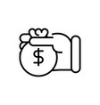 hand with bag money investment business cash line vector image