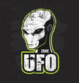 head of the alien and the zone of ufo vector image vector image