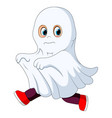 kid in a ghost costume running vector image vector image