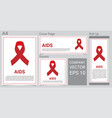 mock up realistic aid icon with red awareness vector image vector image