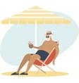old senior man enjoying a coconut cocktail vector image vector image