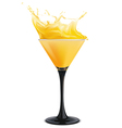 Orange cocktail with splashes vector image vector image