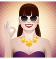 pretty woman with sunglasses ok vector image