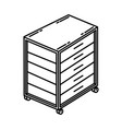 rolling tool chest icon doodle hand drawn vector image