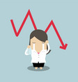 sad businesswoman crying with falling down graph vector image
