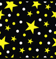 seamless pattern - yellow stars - black background vector image vector image