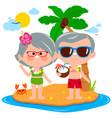 senior couple on an island vacation vector image