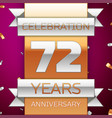seventy two years anniversary celebration design vector image vector image