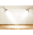 Showroom with wooden floor and two lights vector image vector image