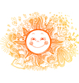 Sketchy doodle of orange sun vector image vector image