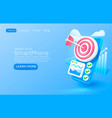 smartphone target analytics banner concept place vector image