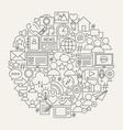 social media line icons circle vector image vector image
