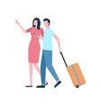 traveling isolated couple with baggage or suitcase vector image vector image
