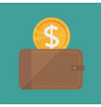 wallet and gold coins icon - flat design vector image