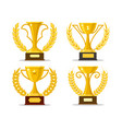 winner cups with laurel wreaths vector image