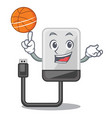 with basketball hard drive in shape of mascot vector image vector image