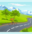 woman riding bicycle on asphalt road near green vector image vector image