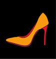 Womens shoe graphic on black background