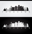 yokohama skyline and landmarks silhouette vector image vector image