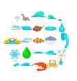 basin icons set cartoon style