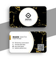black and gold marble texture business card design vector image vector image