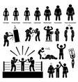 boxing boxer stick figure pictogram icon a set of vector image vector image