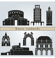 Brescia landmarks and monuments vector image vector image