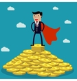 businessman standing on huge pile of money vector image vector image