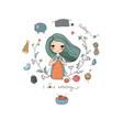 cartoon knitting girl intresting hobby coloring vector image vector image