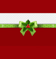 christmas green ribbon with holly berry vector image vector image