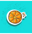 cute orange slice with juicy drops sticker fashion vector image vector image