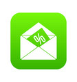 envelope with percentage icon digital green vector image vector image