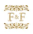 f and f vintage initials logo symbol vector image vector image
