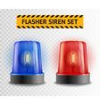 flasher siren transparent set vector image vector image