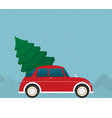 flat car driven by the christmas tree vector image vector image