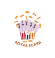 flat royal flush in spades rain of coins vector image