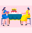 friends celebrating birthday table with cake vector image