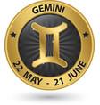 Gemini zodiac gold sign gemini symbol vector image vector image