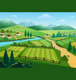 green fields and mountains flat vector image vector image