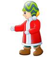 happy boy in red winter clo vector image vector image