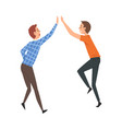 happy male friends giving high five to each other vector image vector image