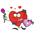 Heart Man Carrying Chocolates and Rose vector image