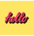 Hello hand draw pink lettering calligraphy vector image vector image