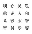 icons creativity black linear vector image