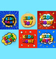 kids zone logo set kids club catoon posters vector image