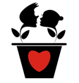 Loving couple and heart silhouette vector image vector image