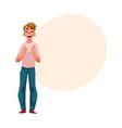 man boy guy rejoicing cheering clenching vector image vector image