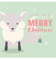 Merry Christmas postcard with cute polar fox vector image